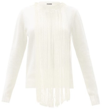 Jil Sander Fringed-collar Boiled-wool Sweater - Cream