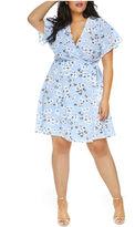 Fashion to Figure Adeline Flutter Sleeve Knit Wrap Dress-Plus