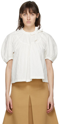 SHUSHU/TONG Off-White Floral Round Sleeve Blouse
