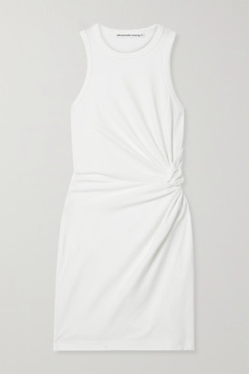 alexanderwang.t Knotted Cotton-blend Jersey Mini Dress - Ivory
