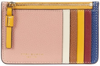 Tory Burch Perry Color-Block Top Zip Card Case (Tinto/New Cream) Credit card Wallet