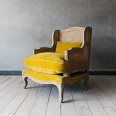 Graham and Green Caden Cane Armchair In Yellow Velvet