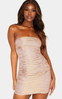 PrettyLittleThing Burgundy Iridescent Ruched Bandeau Bodycon Dress