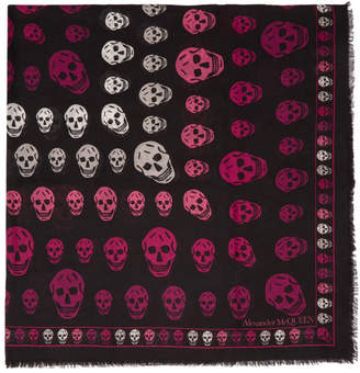 Alexander McQueen Black and Pink Multi-Skull Box Scarf