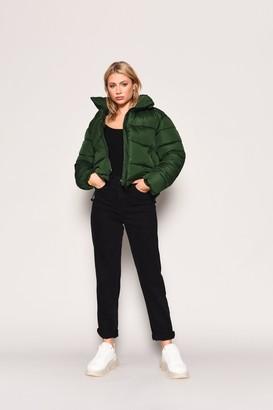 Glamorous Womens **Green Zip Through Puffer Jacket By Green