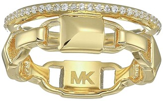 Michael Kors Precious Metal-Plated Sterling Silver Mercer Link Pave Halo Ring (Gold) Ring