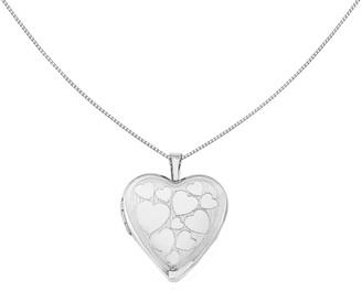 "Sterling 18"" Floating Hearts Locket Necklace"