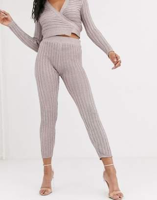 Asos Design DESIGN two-piece metallic knitted pants