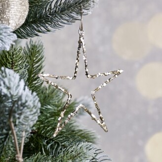 The White Company Glitter Star Christmas Decoration, Silver, One Size