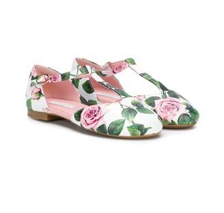 Dolce & Gabbana Rose Print Ballerina Shoes