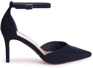Linzi MACI - Navy Suede Stiletto Court Heel With Ankle Strap