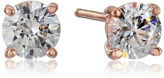 Swarovski La Lumiere Rose Gold Plated Sterling Silver Made with Cubic Zirconia from 1cttw) Round Stud Earrings