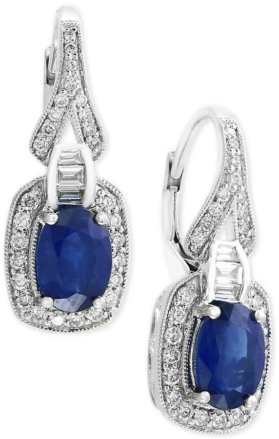 Effy Royale Bleu by Sapphire (1-9/10 ct. t.w.) and Diamond (3/8 ct. t.w.) Drop Earrings in 14k White Gold