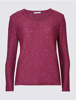 Classic Textured Sequin V-Neck Jumper