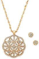 Charter Club Gold-Tone Pavé Necklace & Stud Earrings Set, Only at Macy's