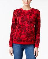 Karen Scott Petite Lace-Print Sweatshirt, Only at Macy's