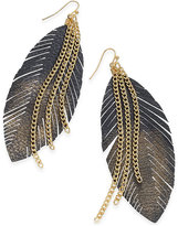 Thalia Sodi Gold-Tone Faux-Leather Feather Drop Earrings, Only at Macy's