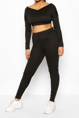 boohoo V Neck Sweat & Legging Set