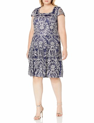 Alex Evenings Women's Tea Length Embroidered Dress with Cap Sleeve