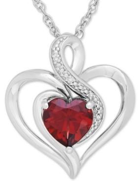 Macy's Rhodolite Garnet (1-3/8 ct. t.w.) & Diamond Accent Heart Pendant Necklace in Sterling Silver