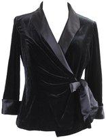Alex Evenings Womens Velour Satin Trim Jacket S