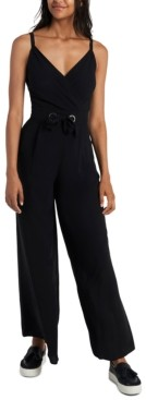 MSK Tie-Front Wide-Leg Jumpsuit