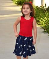 Beary Basics Red & Navy Flamingo Drop-Waist Dress - Toddler & Girls