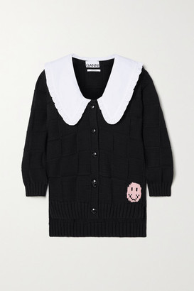 Ganni Poplin-trimmed Cotton-blend Jacquard Cardigan - Black