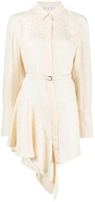 Off-White Asymmetric Ruffled Shirt Dress