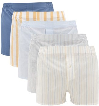 Hamilton And Hare - Pack Of Five Logo-label Cotton Boxer Shorts - Mens - Yellow Multi