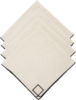 Los Encajeros Set-Of-Four Neutral Striped Linen Napkins