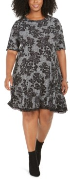 Robbie Bee Plus Size Lace-Trim Printed Sweater Dress