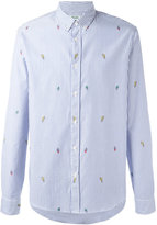 Kenzo striped badge button down shirt - men - Cotton - L