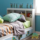 South Shore Andy Laminate Twin-Size Bookcase Headboard with Soldiers Ottograff Wall Decals in Pure white