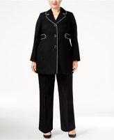 Le Suit Plus Size Three-Button Stretch-Knit Pantsuit