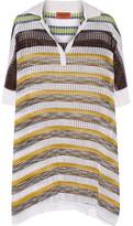 Missoni Oversized Metallic-striped Crochet-knit Top - White