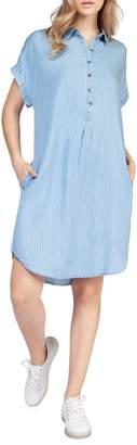 Dex Pinstriped Short-Sleeve Shirtdress