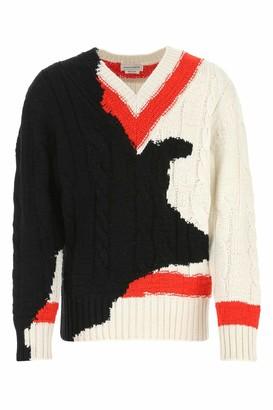 Alexander McQueen Contrast Knit V-Neck Sweater