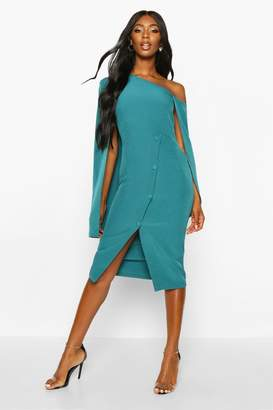boohoo Cape Detail One Shoulder Cover Button Dress