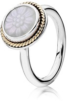 Pandora Ring - Sterling Silver, 14K Gold & Mother-of-Pearl Daisy Signet