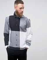 Lindbergh Big Check Shirt Jersey Collar in Black