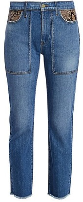 Frame Le High Straight Python-Print Leather Patchwork Jeans