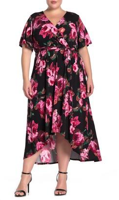 WEST KEI Floral Waist Tie High/Low Hem Midi Dress (Plus Size)