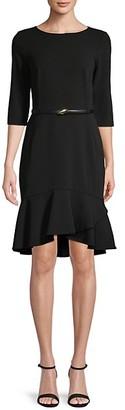 Calvin Klein Belted Ruffle-Hem Dress