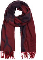 Johnstons of Elgin Red Jacquard Stag Cashmere Scarf