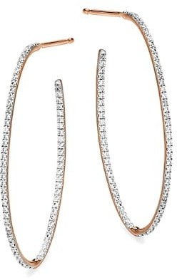 ginette_ny Ellipses & Sequins 18K Rose Gold & Diamond Large Ellipse Hoop Earrings