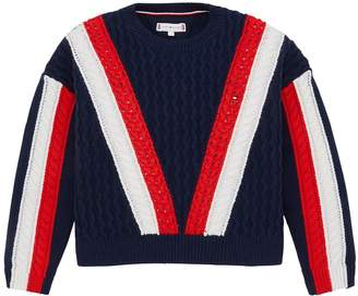 Tommy Hilfiger Girls Colour Block Knitted Jumper - Navy