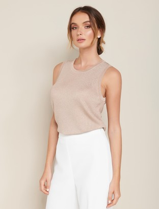 Forever New Milly Metallic Knit Tank - SOFT GOLD LUREX - 10