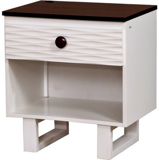 Online Kelsin Two Tone Youth Nightstand, Dark Walnut and White