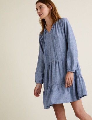 Marks and Spencer Linen V-Neck Mini Relaxed Dress